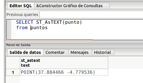 consulta SQL select ST_AsTEXT